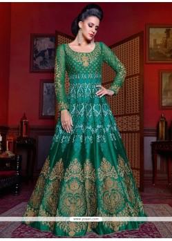 Titillating Diamond Work Green Art Silk Floor Length Anarkali Suit