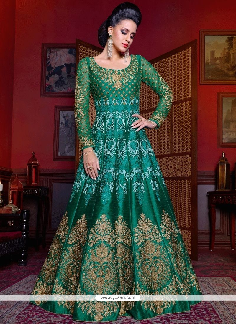 Buy Titillating Diamond Work Green Art Silk Floor Length Anarkali ...