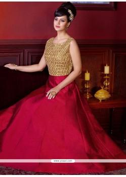 Sensible Diamond Work Art Silk Maroon Floor Length Designer Salwar Suit