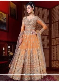 Regal Orange Floor Length Anarkali Suit