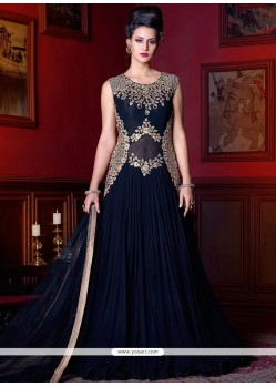 Superlative Faux Georgette Navy Blue Resham Work Floor Length Anarkali Suit