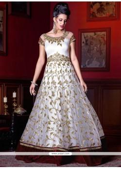 Flattering White Floor Length Anarkali Suit