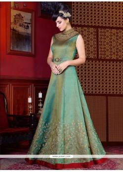 Paramount Art Silk Sea Green Floor Length Anarkali Suit