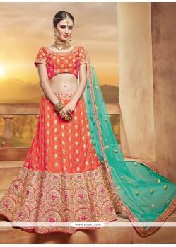 Orange Lace Work Lehenga Choli