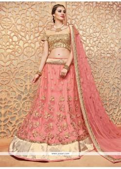 Blissful Net Pink Lace Work Lehenga Choli