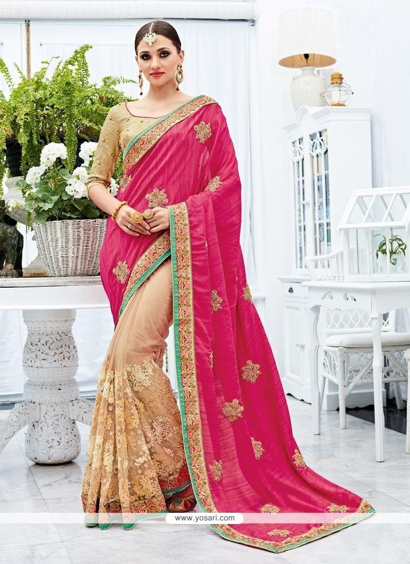 bdf65c4ba Impeccable Cream And Pink Zari Work Art Silk Designer Half N Half Saree
