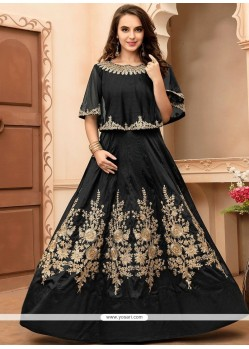 Immaculate Black Floor Length Anarkali Suit
