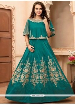 Prominent Embroidered Work Sea Green Tafeta Silk Floor Length Anarkali Suit