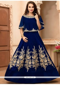Nice Blue Floor Length Anarkali Suit