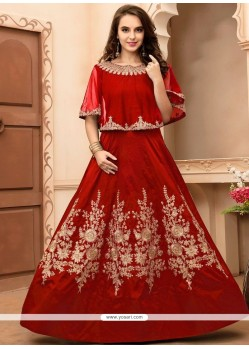 Excellent Tafeta Silk Embroidered Work Floor Length Anarkali Suit
