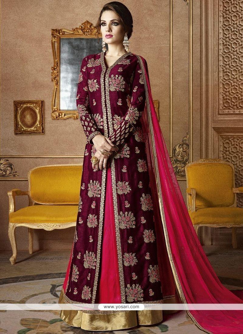 571729b209 Buy Intrinsic Lace Work Hot Pink And Wine Long Choli Lehenga ...