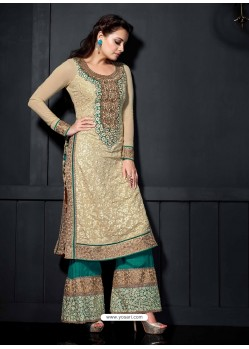 Diya Mirza Cream Georgette Pakistani Suit