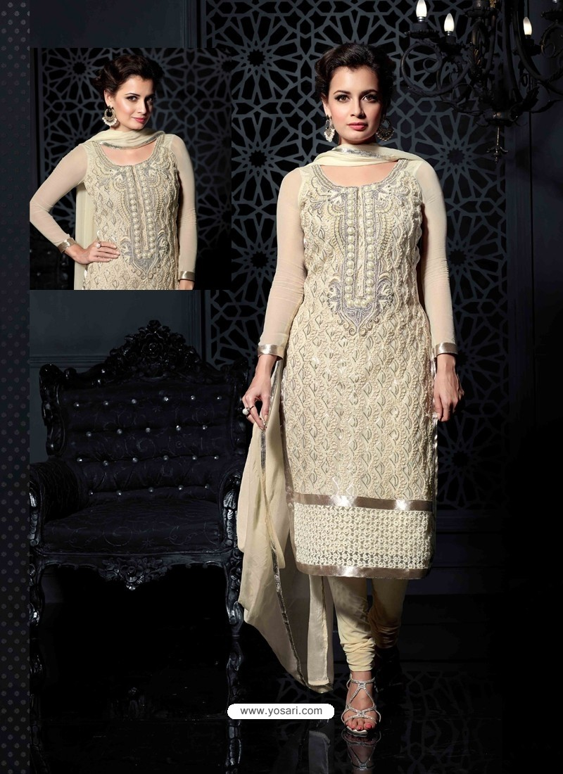 Diya Mirza Cream Net Churidar Suit