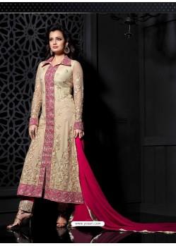 Diya Mirza Cream And Pink Georgette Salwaar Kameez