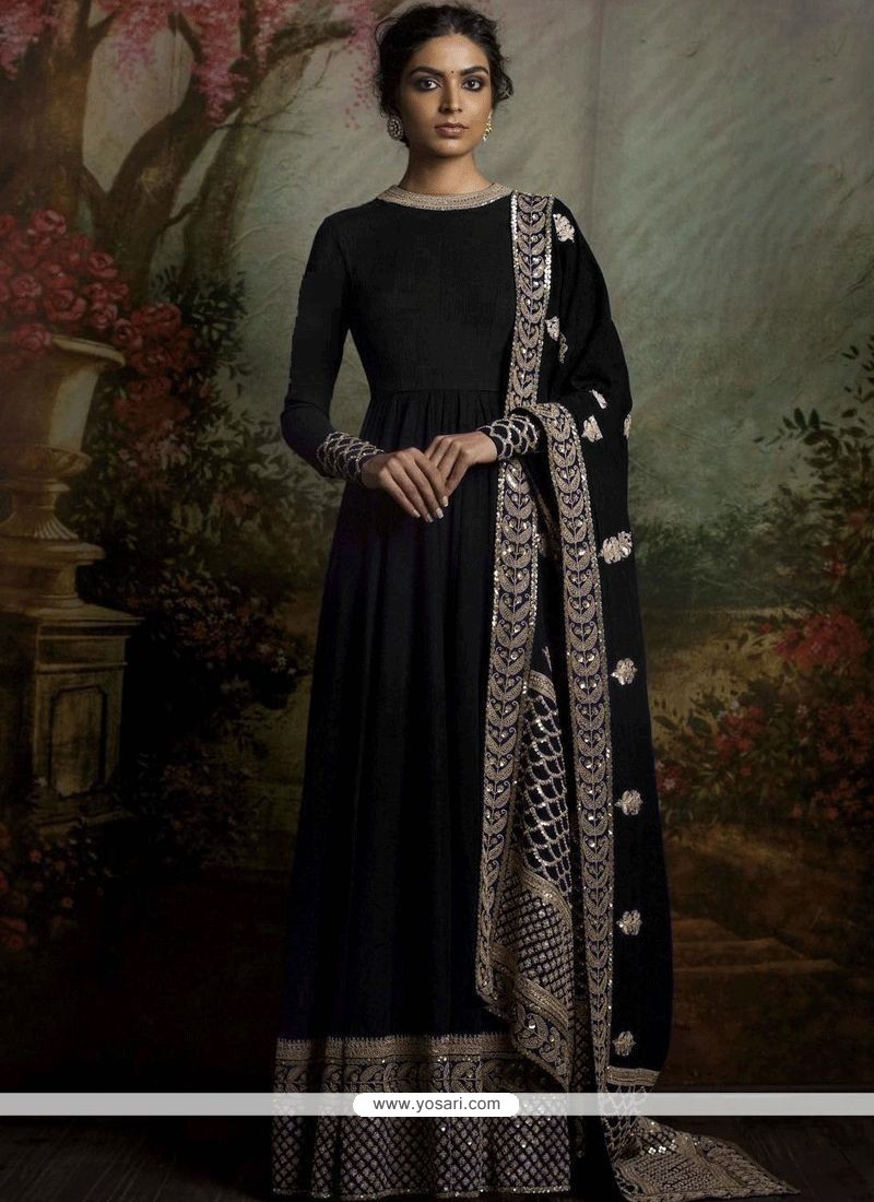 09a113eb47fc Buy Marvelous Banglori Silk Black Resham Work Floor Length Anarkali ...
