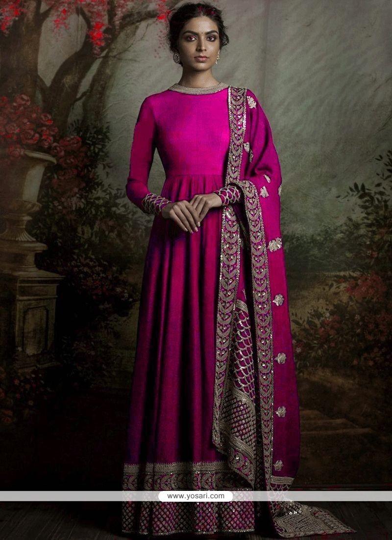 4d30fc71bf Buy Striking Hot Pink Banglori Silk Floor Length Anarkali Suit ...