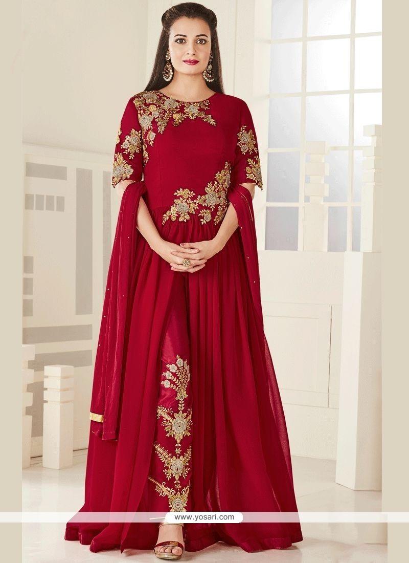 370aaa17218 Buy Diya Mirza Red Faux Georgette Designer Suit