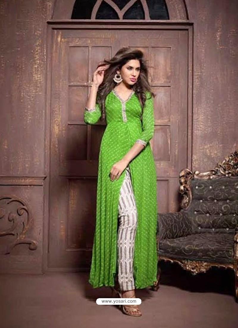 Green Chiffon Salwaar Kameez