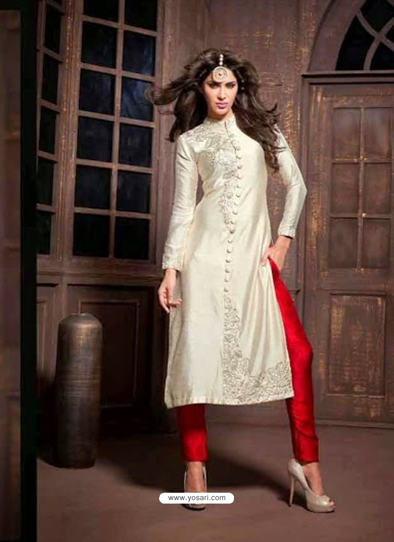 Creem And Red Silk Salwaar Kameez