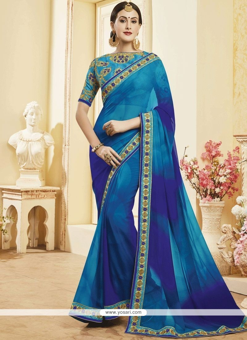 07f8548e97 Buy Pretty Patch Border Work Blue Faux Georgette Shaded Saree ...
