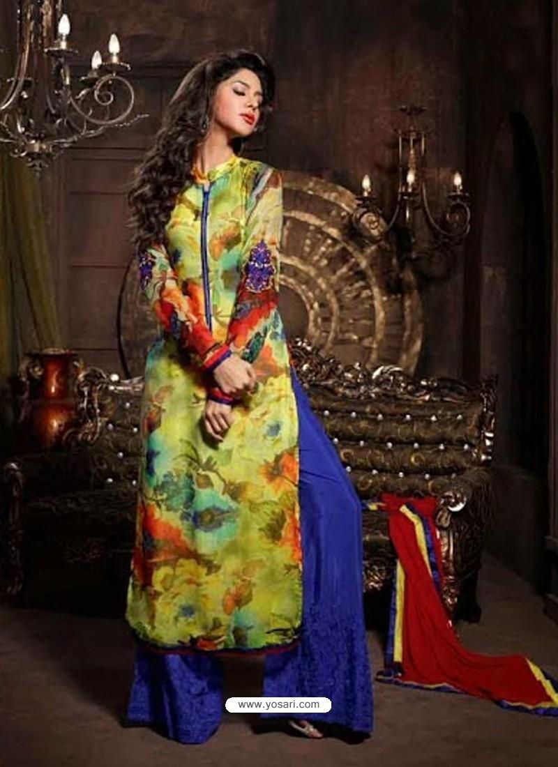 Multicolor Pure Georgette Salwaar Kameez