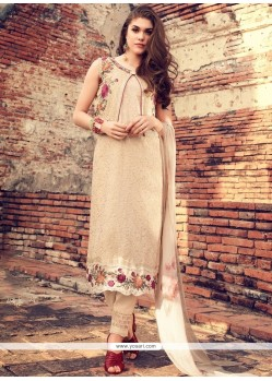 Modish Cotton Embroidered Work Pant Style Suit