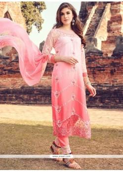 Aristocratic Pink Resham Work Cotton Pant Style Suit