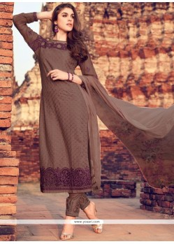 Splendid Embroidered Work Brown Cotton Pant Style Suit