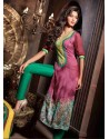 Maroon And Green Pure Georgette Salwaar Kameez
