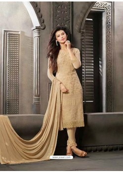 Creem Chiffon Churidar Suit