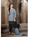 Grey And Black Chiffon Churidar Suit