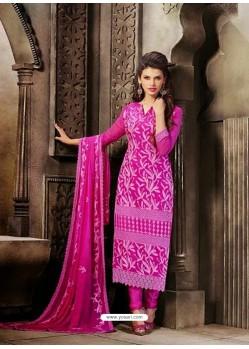 Pink Chiffon Churidar Suit