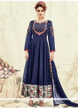 Floral Print Work Navy Blue Faux Georgette Anarkali Suit