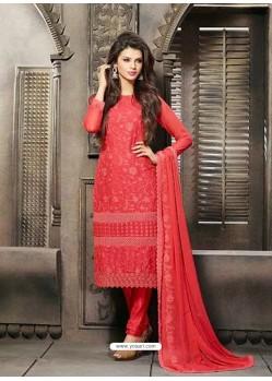 Red Chiffon Punjabi Suit