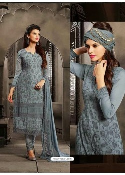Grey Chiffon Punjabi Suit