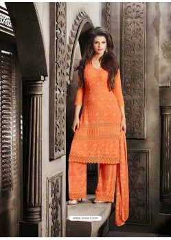 Orange Chiffon Punjabi Suit
