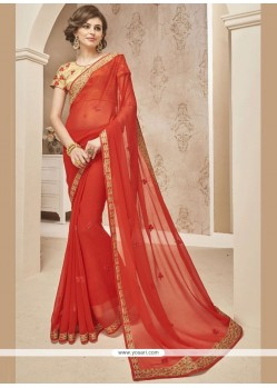Fantastic Faux Chiffon Embroidered Work Classic Designer Saree
