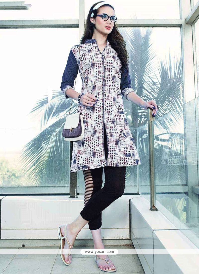 92d821f82e Buy Latest Print Work Denim Blue And Off White Party Wear Kurti ...