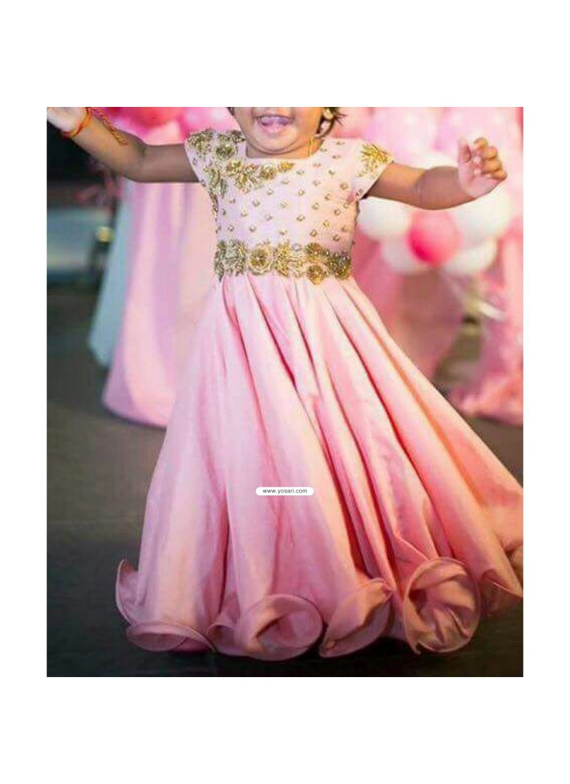 Buy Custom Made Pink Handwork Gown For Small Girl Indowestern