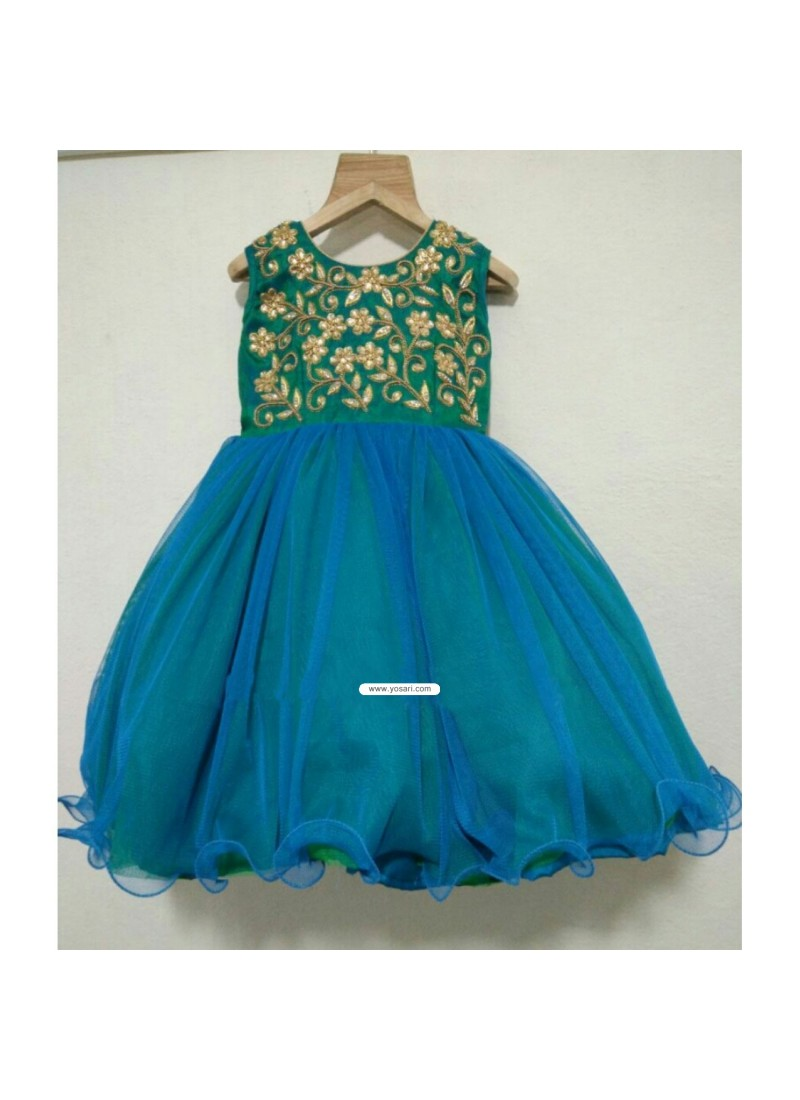 Buy Dual Shaded Net Baby Frock With Embroidery For