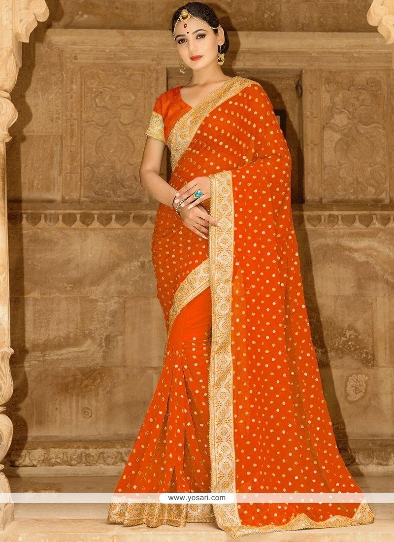 4dd513861414a Buy Tempting Orange Saree
