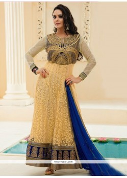 Preity Zinta Cream Jacquard Anarkali Suit