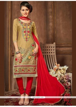 Beige And Red Churidar Designer Suit