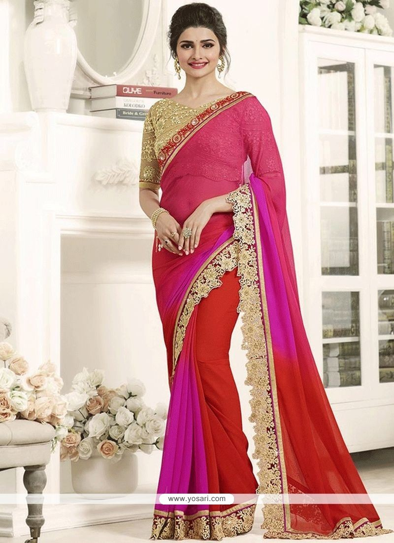 9b6dc623fa5 Buy Prachi Desai Art Silk Patch Border Work Hot Pink And Red Shaded ...