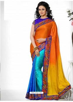 Multicolor Jacquard,Crepe Saree