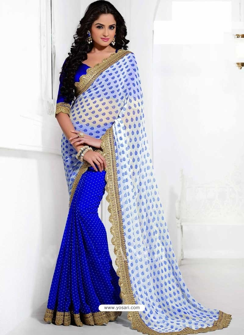 White And Blue Georgette Saree
