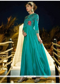Resham Work Satin Silk Aqua Blue Readymade Gown