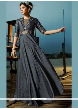 Grey Satin Silk Resham Work Readymade Gown