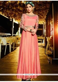 Pink Satin Silk Resham Work Readymade Gown
