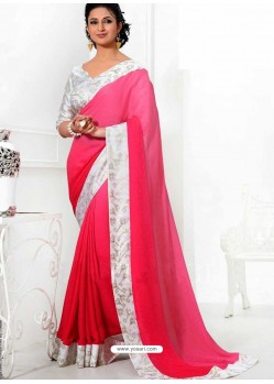 Off White And Pink Crepe,Silk Saree